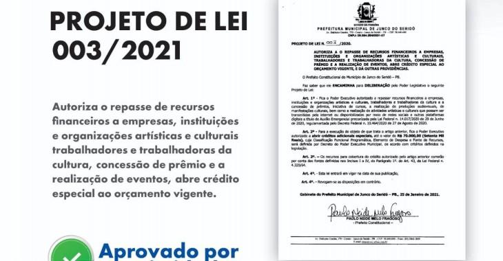 PROJETO DE LEI N. 003/2021